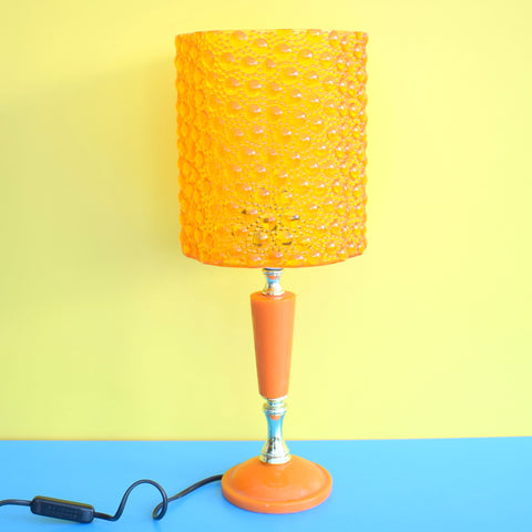 Vintage 1960s Orange Resin Lamp & Plastic Bubble Shade
