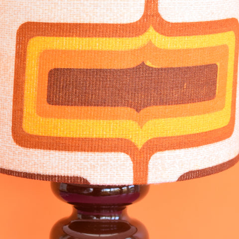 Vintage 1960s Brown Doulton Ceramic Lamp & Geometric Shade - Brown & Orange