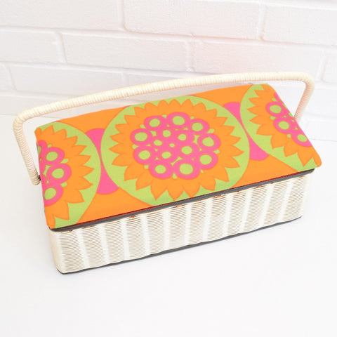 Vintage 1960s Sewing / Hobby Box - Flower Power Design, Green, Pink & Orange