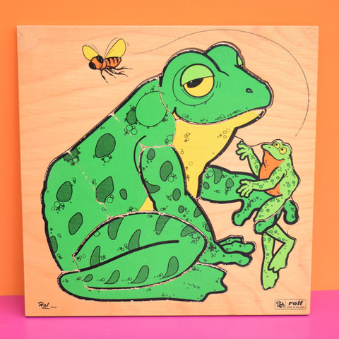 Vintage 1970s Wooden Jigsaw Puzzle - by Rolf of Holland - Frog / Monkey / Giraffe