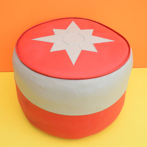 Vintage 1960s Round Footstool / Pouffe - Grey & Red