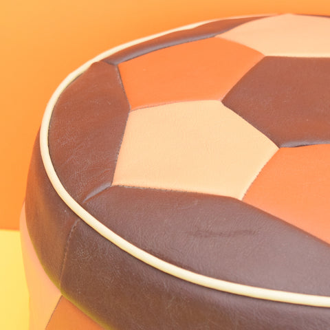 Vintage 1960s Round Footstool / Pouffe - Brown