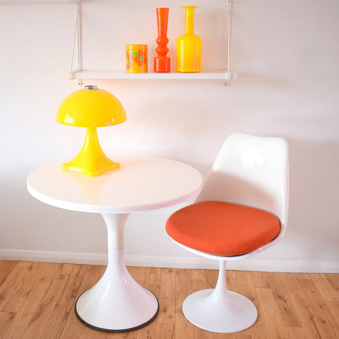 Vintage 1970s Fibreglass Small Dining Table - White Gloss