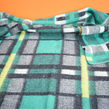 Vintage 1950s Soft Tartan Blanket / Throw - Green, Yellow, Grey