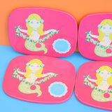 Vintage 1960s Worcester Ware Mermaid Coasters x6, Boxed - Pink