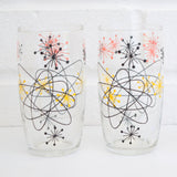 Vintage 1950s Atomic Drinking Glasses - Black & White