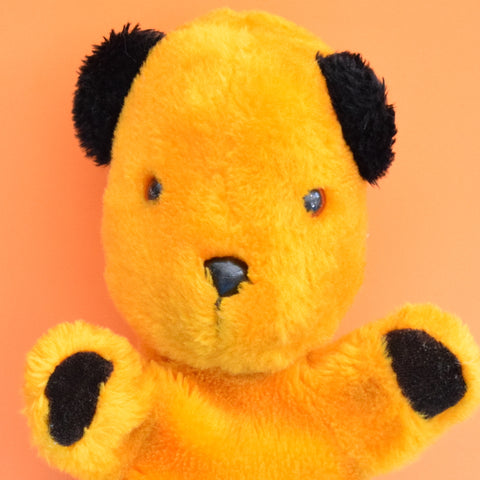 Vintage 1970s Fluffy Sooty Bear Hand Puppet / Bottle Cover - Yellow