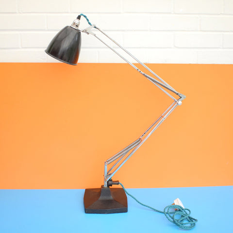 Vintage Rare 1209 Angle-poise Desk Lamp - Herbert Terry - Chrome & Black - Large