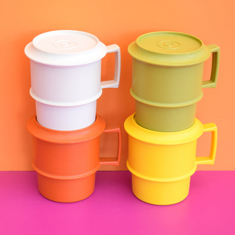 Vintage 1970s Plastic Tupperware Lidded Cups / Mugs x4 - Orange, Yellow, White & Green