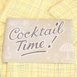 Vintage 1950s Vinyl Cocktail Coasters - Yellow & Grey