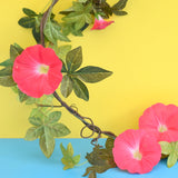 Vintage 1960s String Of Faux Morning Glory Vine / Plant - Pink