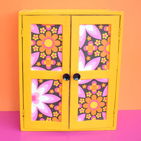 Vintage 1960s Wooden Dolls Wardrobe / Cupboard - Jewellery? - Flower Power Yellow