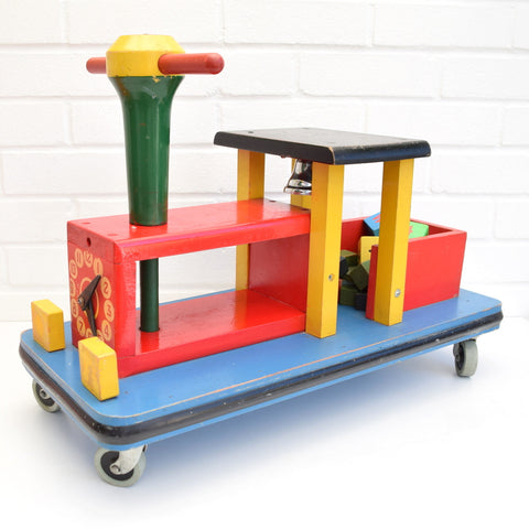 Vintage 1970s Big Wooden Ride on Train Toy - Handmade - Red , Yellow , Blue , Green