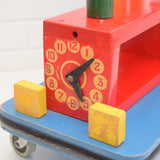 Vintage 1970s Big Wooden Ride on Train Toy - Handmade - Red , Yellow , Blue , Green detail