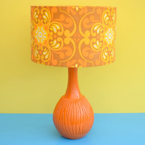 Vintage 1960s Orange Heavy Plaster Table Lamp - Yellow & Orange Swirl Shade