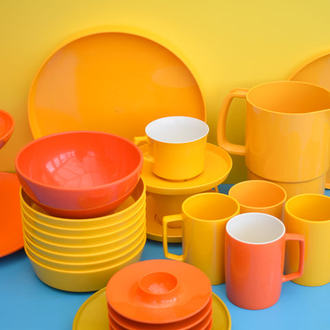 Vintage 1970s Melamine Plastic - Danish Rosti / Finnish - Orange & Yellow