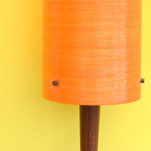 Vintage 1960s Wooden Teak Table Lamp - Fibreglass Shade - Orange
