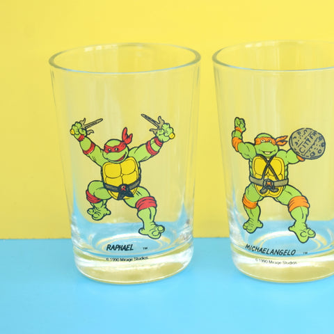 Vintage 1990s Teenage Mutant Ninger Turtle Glasses x4