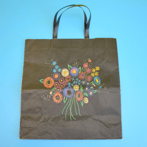 Vintage 1970s Paper / Plastic Gift Bag - Coloroll Ltd -  Flower Power
