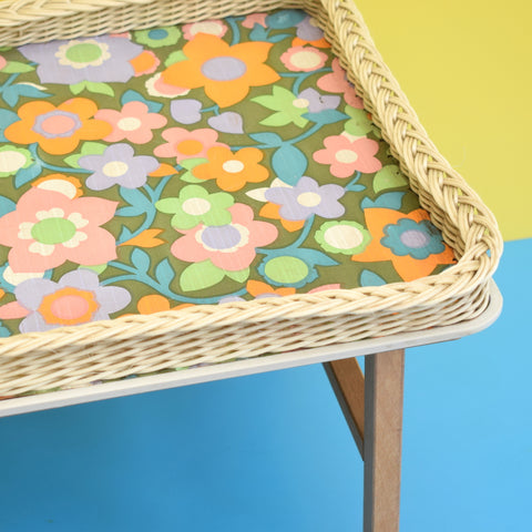 Vintage 1960s Folding Low Table - Flower Power - Pink, Green & Orange