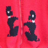 Vintage 1950s Cowichan Cardigan - Black Poodle Design on Scarlet Red - Large