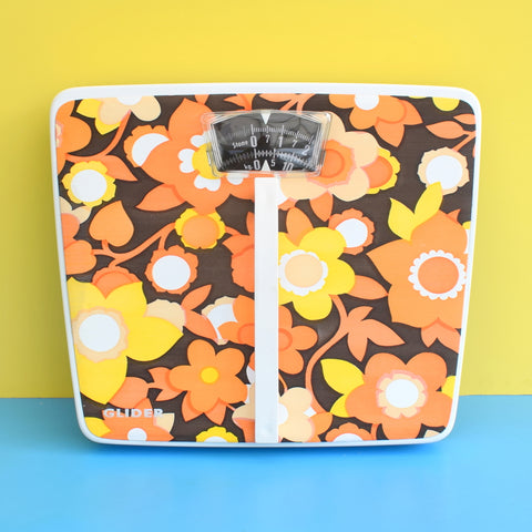 Vintage 1960s Unused, Boxed Bathroom Scales - Flower Power - Orange