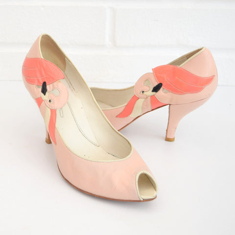 Vintage Leather Flamingo Heeled Shoes - Size 5, Pink