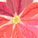 Vintage 1960s Embroidered / Collage Picture - Flower Head - Poinsettia - Red / Pink