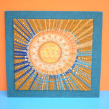 Vintage 1960s Embroidered / Collage Picture - Starburst- Orange / Gold & Blue - Nordiska