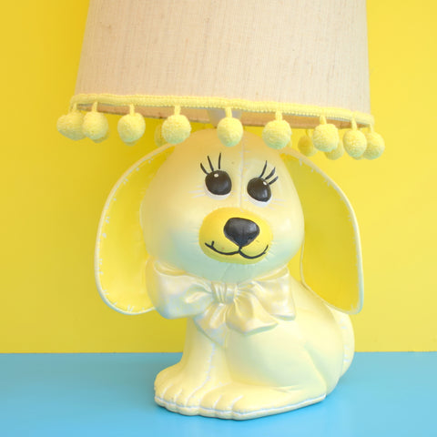 Vintage 1970s Ceramic Dog Lamp & Shade - Yellow & White