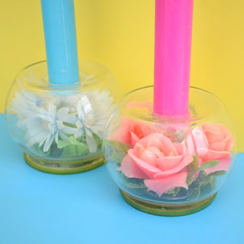 Vintage 1960s Kitsch Glass / Plastic Flower Candle Holders - Pink Or Blue