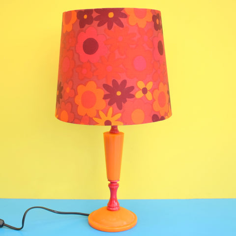 Vintage 1960s Orange Table Lamp - Flower Power Lamp Shade - Orange & Pink