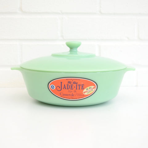 American Fire King Jadeite Round Casserole With Lid - Jade Green