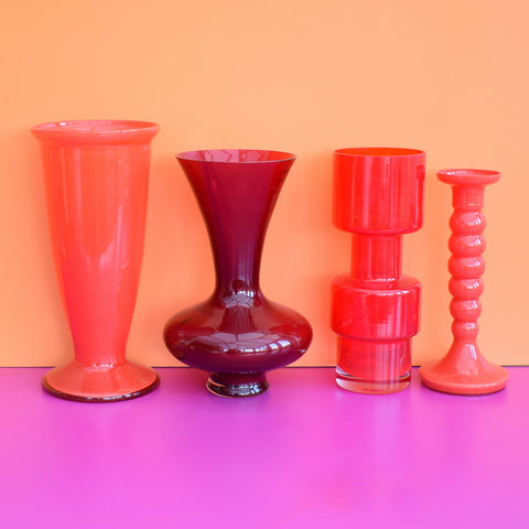 Vintage 1960s Red Glass Vases - Choice of Items (Italian & Scandinavian)