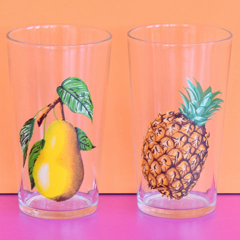 Vintage 1950s Pineapple / Pear Drinking Glasses x4