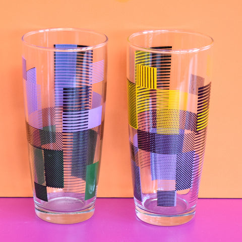 Vintage 1950s Atomic Drinking Glasses Pair - Purple / Yellow / Black