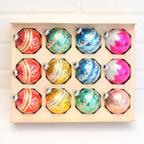Vintage 1970s Glass Christmas Baubles / Decorations x8 Boxed