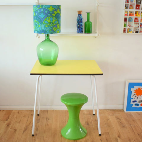Vintage 1950s Small Formica Table - Ideal Desk - Spring Yellow
