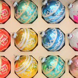 Vintage 1970s Glass Christmas Baubles / Decorations x8 Boxed detail