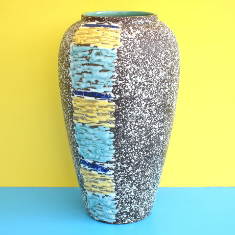 Vintage 1950s Large West German Ceramic Vase - Fat Lava - Blue & Yellow