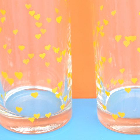 Vintage 1980s Heart Print Drinking Glasses x4 - Yellow (boxed)