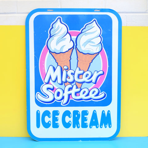 Vintage 1980s Double Sided Metal Mister Softee Ice Cream Sign