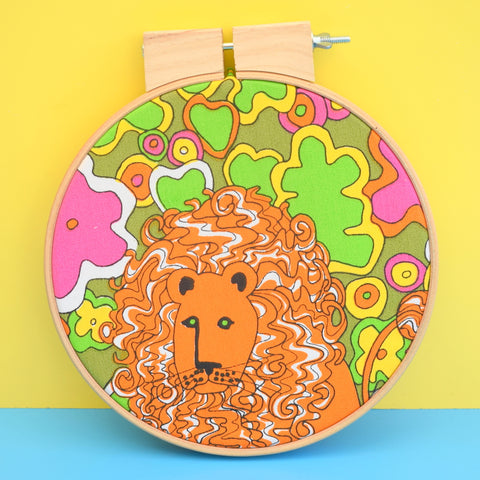 Vintage Large Fabric Wall Art Circle - Flower Power Lion Print - Pink ,Green, Orange