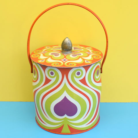 Vintage 1960s Metal Biscuit Tin - Psychedelic Swirls - Orange, Purple, Green