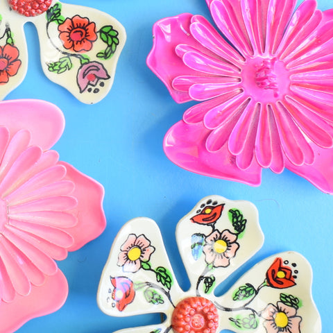 Vintage 1970s Enamel Brooch Pins - Flower Designs - Pink Mixed