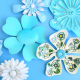Vintage 1970s Enamel Brooch Pins - Flower Designs - Blue Mixed