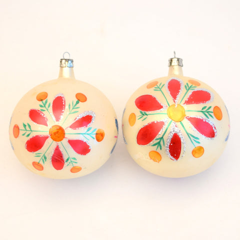 Vintage Pair of 1960s Glass Flower Christmas Baubles / Decorations