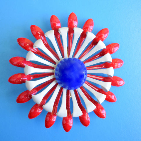 Vintage 1960s Enamel Brooch Pin - Flower Design - Red, White & Blue