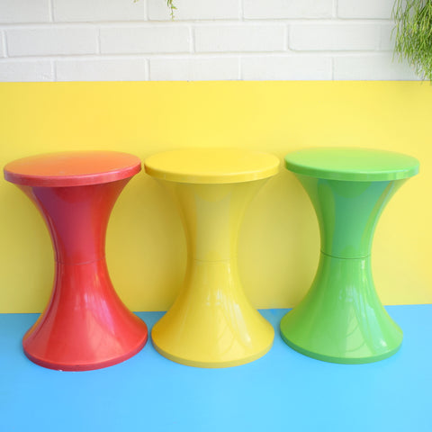 Vintage Plastic Tam Tam Stool - Red, Yellow Or Green