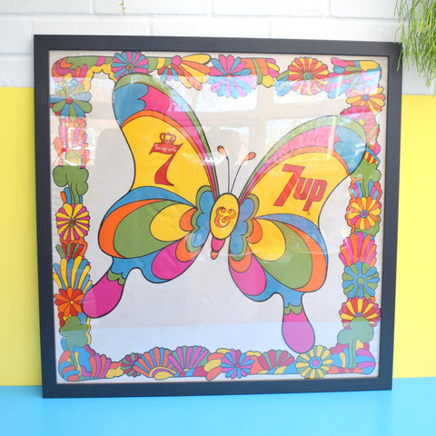Vintage 1960s Rare American 7UP / Seagrams Framed Butterfly Scarf